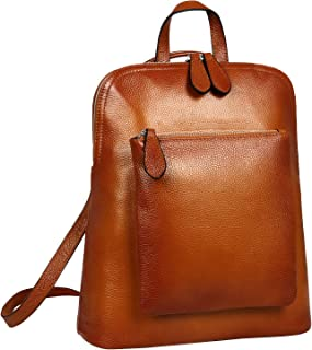 Heshe Women's Vintage Leather Backpack Casual Daypack for Ladies and Girls (Sorrel)