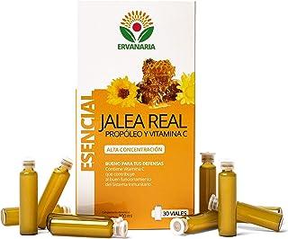 ERVANARIA Jalea Real con Propóleo y vitamina C. 30 Viales. alta concentración. reduce el cansancio y la fatiga. refuerza el sistema inmunológico. potencia tu mente. mejora tu memoria. aporta energía