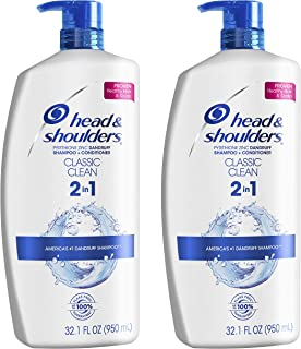 Head and Shoulders Shampoo and Conditioner 2 in 1, Anti Dandruff Treatment and Scalp Care, Classic Clean, 32.1 fl oz, Twin...