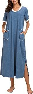 AVIIER Long Nightgown Womens Lounge Dress Pockets Short Sleeve Nightshirt Sleepwear
