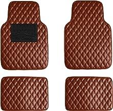 FH Group F12002BROWN Luxury Universal All-Season Heavy-Duty Faux Leather Car Floor Mats Diamond Design w. High Tech 3-D Anti-Skid/Slip Backing