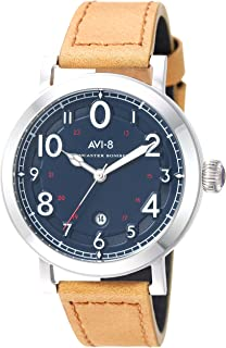 Men's AV-4067 Lancaster Bomber Cockpit Edition Stainless Steel Japanese-Quartz Aviator Watch with Leather Strap