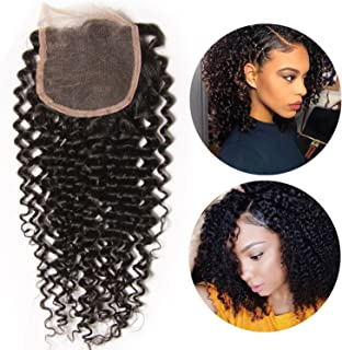 10A Brazilian Kinky Curly Closure Human Hair Curly Weave Virgin Free Part Lace Closure Natural Color (10inch)