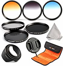 52mm Filter, Set K&F Concept 52mm Professional Lens Filters Neutral Density Filters Set (ND2 ND4 ND8) Graduated Color Filter (Blue Orange Gray) for Nikon DSLR Cameras Lens Hood Cleaning Cloth Lens Cap