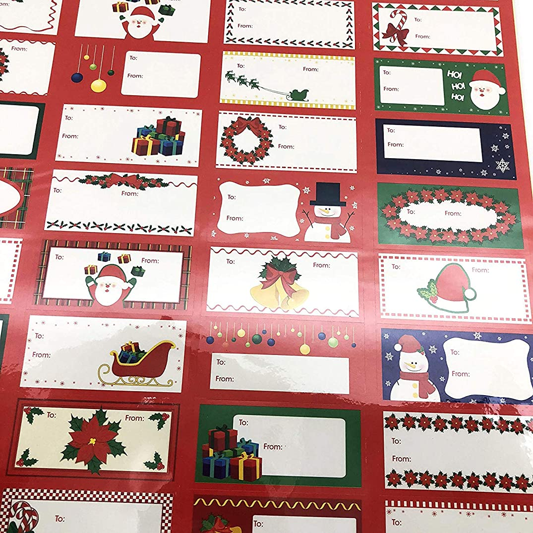 Cristmas Gift Tags Labels 96 Count with 48 Different Designs Xmas Gift Labels Best for Gifts Presents, Wrapping Paper and Gift Bags