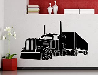 Big Truck Wall Decal Semi Truck Automobile Monster Car Vehicle Vinyl Sticker Home Nursery Kids Boy Girl Room Interior Art Decoration Any Room Mural Waterproof Vinyl Sticker (188xx)