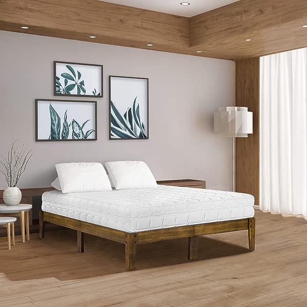Olee Sleep VC14SF03K 1 Smart Wood Platform Bed Frame King Light Brown