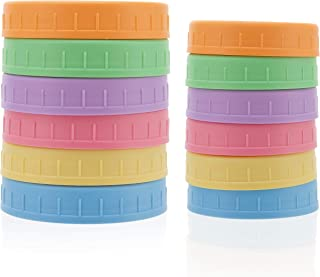 JOYLIDS 12 Plastic Colored Mason Jar Lids - 6 Regular Mouth & 6 Wide Mouth - Compatible with Ball and Kerr - Reusable Plastic Storage Caps