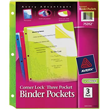 Avery Corner Lock Binder Pocket with 3 Pockets, (75312)