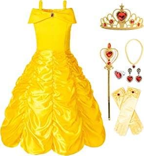 FUNNA Princess Belle Costume Dress for Girls Toddler Dress Up Yellow