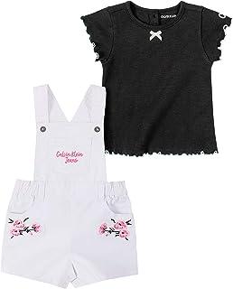 CALVIN KLEIN Baby Girls 2 Pieces Shortall Set, Pink/White, 12M