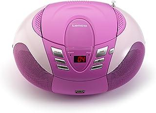 Lenco Radio mit CD/MP3 Player SCD 37 Tragbares UKW/MW Radio mit USB (Teleskopantenne, USB), rosa