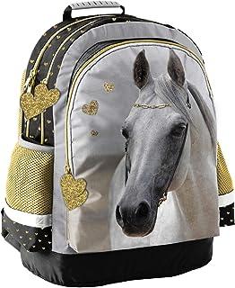 Mochila infantil (42 x 29 x 17 cm), diseño de caballo, color dorado, blanco y negro