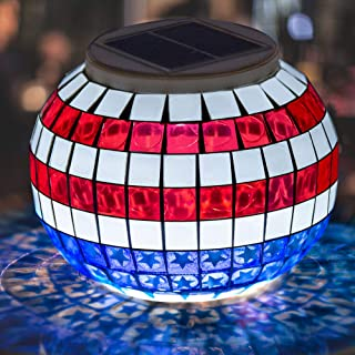 Pandawill Color Changing Solar Powered LED Garden Lights, Rechargeable Solar Powered Table Lights, Outdoor Waterproof Solar Night Lights Table Lamps for Decorations,Ideal Gifts(Star-Spangled Banner)