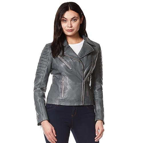 Ladies Real Leather Jacket Stylish Fashion Designer Waxed Soft Biker Motorcycle Style Jacket 9334