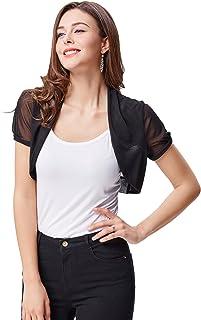 Belle Poque Womens Short Sleeve Cropped Short Chiffon Shrug Bolero BP218