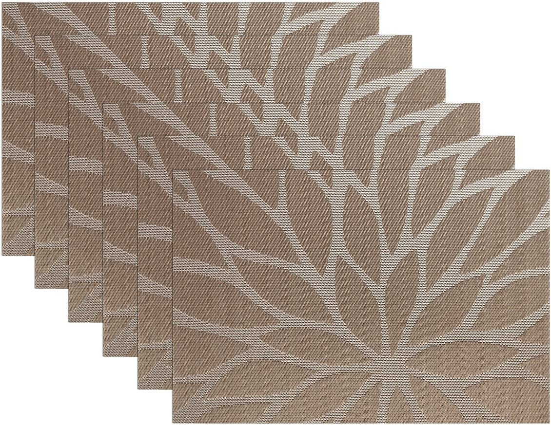 67% OFF of fixed price SICOHOME Placemats Cheap SALE Start Set of 6 Table Dining Brown Woven V