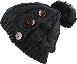 The Hat Depot 1000cmh-1102 Knit Beanie With Side Buttons and Pom Pom (Ivory)