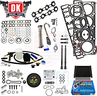 Ford 6.0L 6.0 Powerstroke Kit - 2004.5-2008 - ARP Studs 18MM Head Gaskets Oil Cooler Stand Pipes Coolant Filtration Kit Cap Blue Spring Intake and Exhaust Gaskets (18mm)