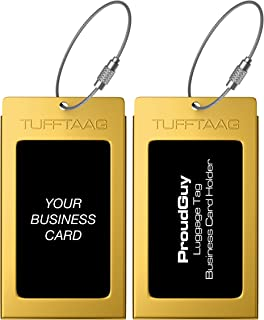 Luggage Tags Business Card Holder TUFFTAAG Pair Travel ID Bag Tag - Mayan Gold