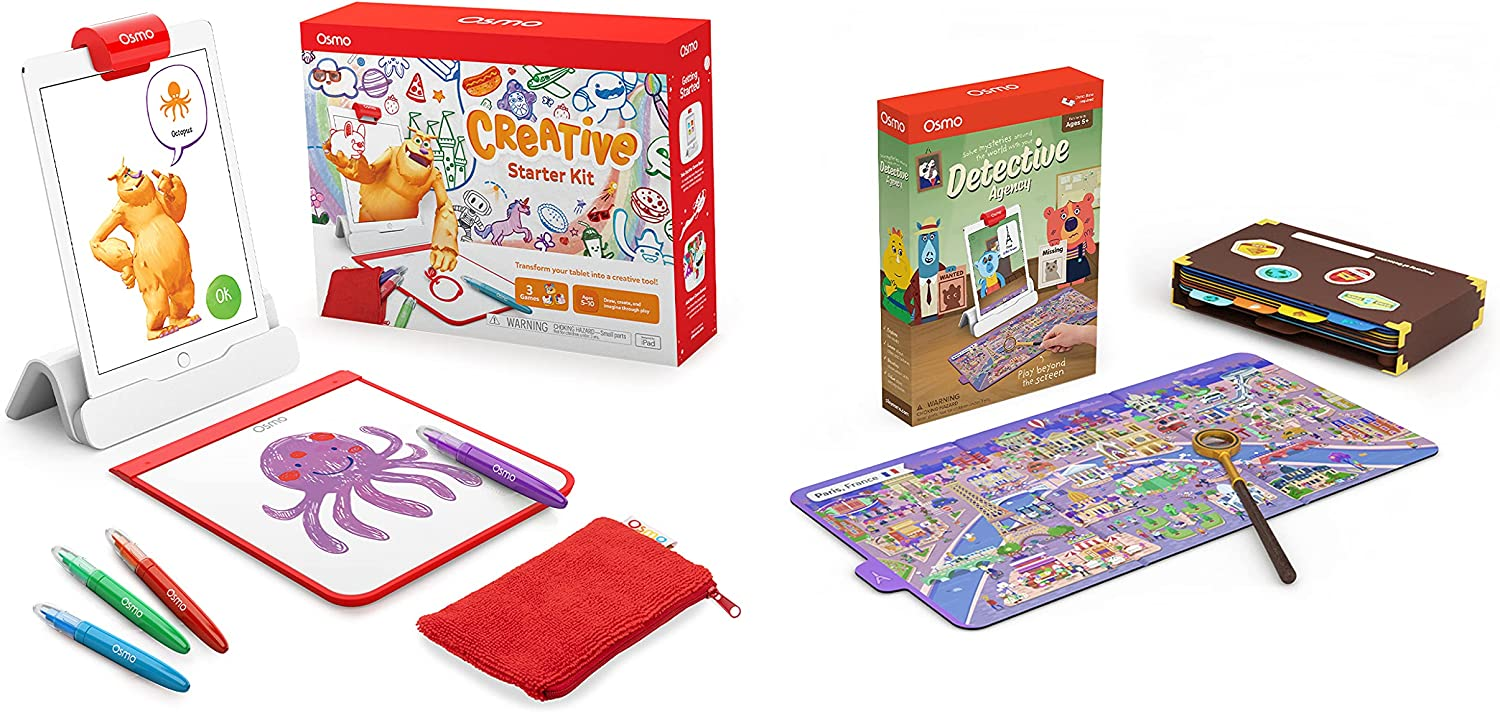 Osmo - Creative Starter Kit for iPad (Ages 5-10) + Detective Agency: A Search & Find Mystery Game Bundle (Ages 5-12) iPad Base Included