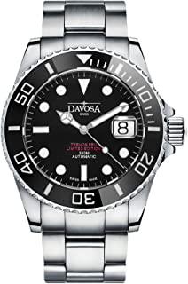 Davosa Swiss Made Men Watch, Automatic Analog Ternos Professional, Stainless Steel Wrist Band, Premium Ceramic Bezel
