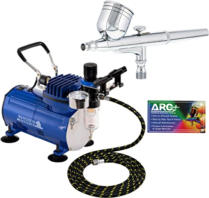 Master Airbrush Multi-purpose Gravity Feed Dual-action Airbrush Kit with 6 Foot Hose and a Powerful 1/5hp Single Piston Quiet Air Compressor: image