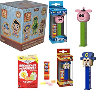 Quaker Cereal Character Heads Bundled with Quisp Alien & Cap'n Crunch Candy Retro + Breakfast Fun Monsters Blind Box Mini Plush Morning Characters 3 Items