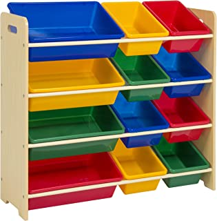 Best Choice Products 4-Tier Kids Wood Toy Storage Organizer Shelves Rack for Playroom, Bedroom, Living Room, Class Room w/ 12 Easy-To-Clean Removable Plastic Bins - Multicolor