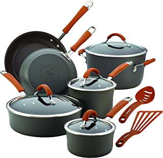 Rachael Ray 87635 Cucina Dishwasher Safe Hard Anodized Nonstick Cookware Pots and Pans Set, 12 Piece, Gray with Orange Handles