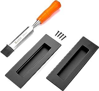 "Kutir 6"" Sliding Flush Pull Handle (2 Pack) - Black Hand Polished Barn Door Finger Pull for Sliding Doors, Cabinets, Closet and Drawers, NO Sharp Edge"