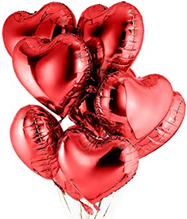 Yisscen Globos Papel de Aluminio 25 PCS Globos de Corazón Rojo 18 Pulgadas Globos de Cumpleaños Inflable para Fiesta, San Valentín, Boda, Compromiso