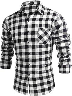 COOFANDY Men's Casual Long Sleeve Plaid Button Up Shirts Regular Buffalo Plaid Dress Shirt with Pocket