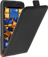 mumbi Premium Funda con Tapa de Cuero Real Compatible con Microsoft Lumia 640 XL, Negro