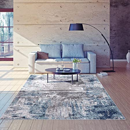 Luxe Weavers Euston Blue 8 X 10 Abstract Modern Area Rug 7681 Furniture Decor