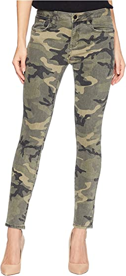 Five-Pocket Ankle Skinny Jeans in Camo Green
