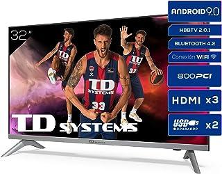 TD Systems K32DLJ12HS - Televisores Smart TV 32 Pulgadas HD Android 9.0 y HBBTV, 800 PCI Hz, 3X HDMI, 2X USB. DVB-T2/C/S2,...