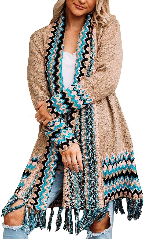 Womens Plus Size Boho Long Cardigans Loose Tassel Open Front Aztec Print Long Sleeve Sweater Coats