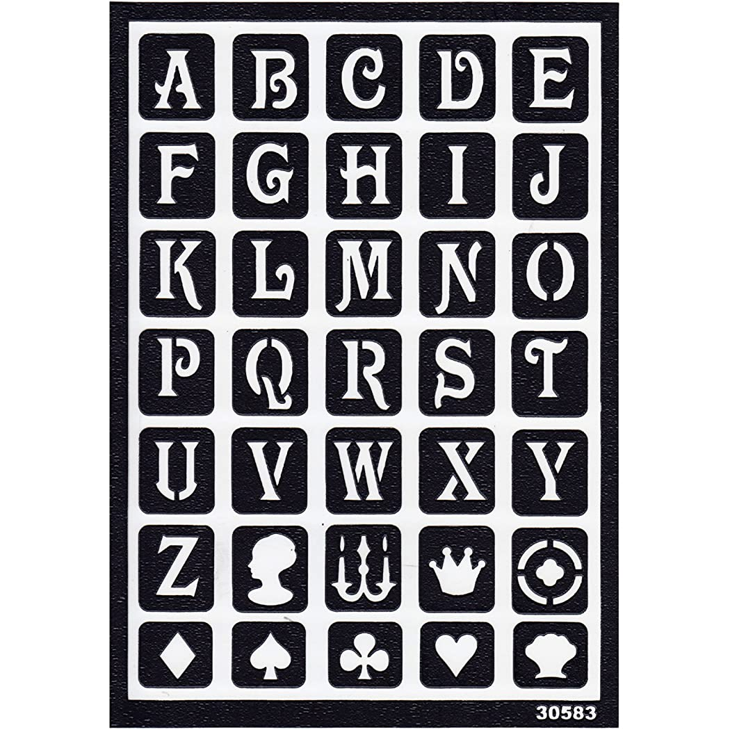 に向けて出発裸差別Plaid ステンシルシート Classic Alphabet 14.8cm×20.8cm 1枚 DT30583