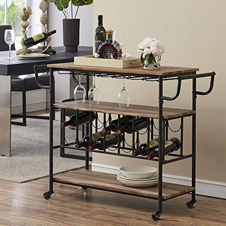 HOMYSHOPY Industrial Bar Cart with Wine Rack and Glass Holder, Mobile Wine Carts with Wheels for The Home, Metal Serving Cart and Kitchen Storage Cart 3 Shelves, Vintage Brown