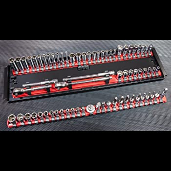 Ernst Manufacturing Socket Boss 3-Rail Multi-Drive Socket Organizer, 19-Inch, Blue - 8451A