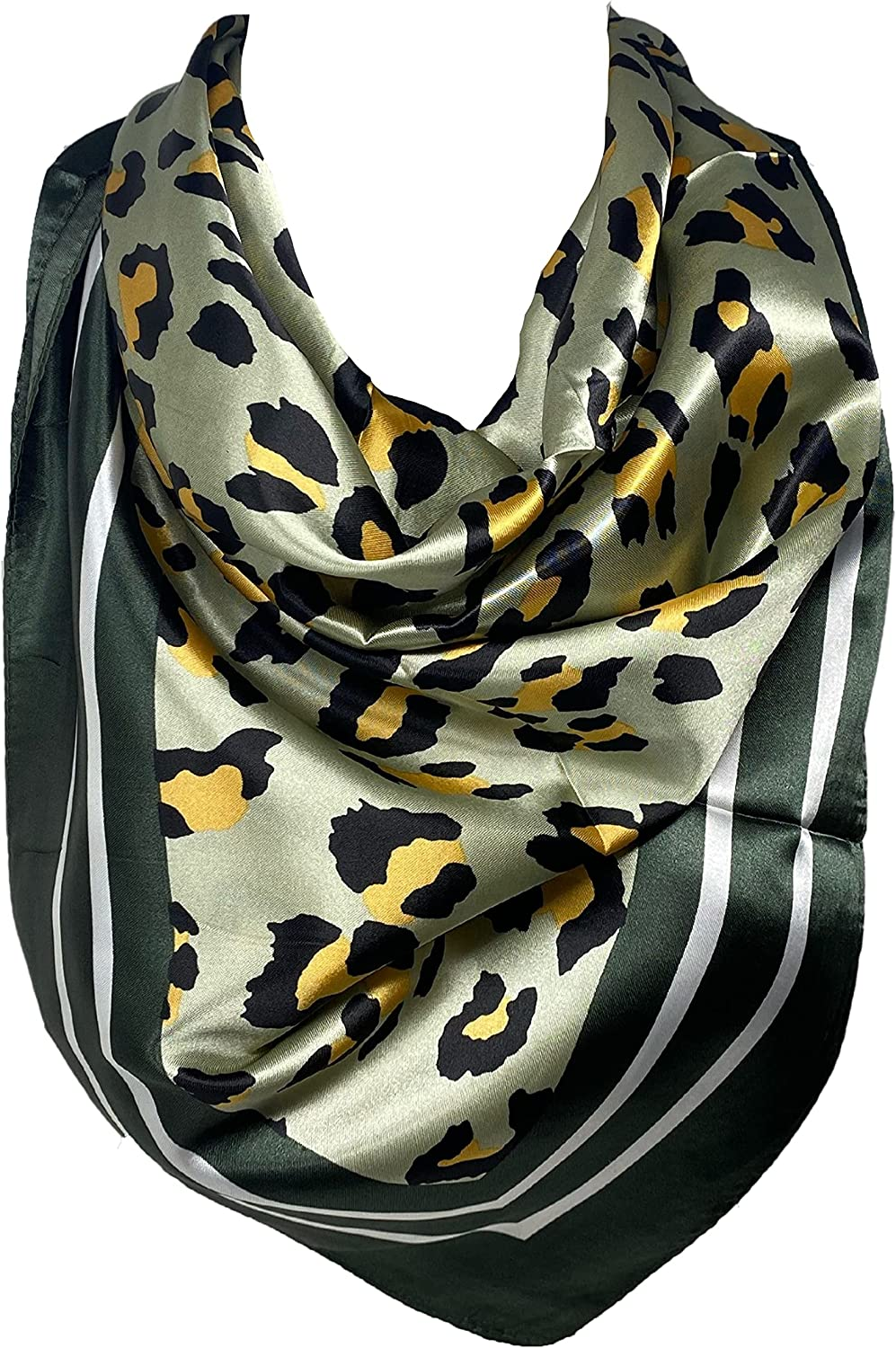 Self Embossed Silk Feel Bandana Square Neck Scarf, Head Scarves, Leopard Print with Tiger Print Border