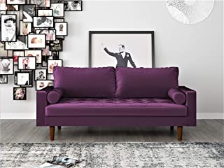 Container Furniture Direct S5458-S S5458 Mid Century Modern Velvet Upholstered Tufted Living Room Sofa, 69.68