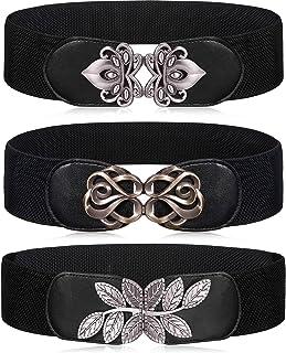 3 Pieces Vintage Wide Elastic Stretch Waist Belt Retro Cinch Buckle Belt Dress Belt for Women Girls Daily Collocation