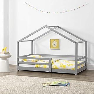 [en.casa] Lit d'enfant Maison avec Barreaux de Sécurité Pin Naturel 80 x 160 cm Gris Clair Mat Laqué