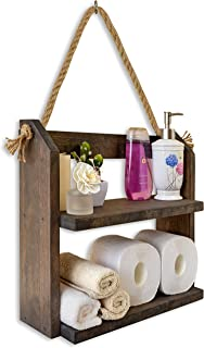 TESLYAR Bathroom Shelf Towel Rack Wall Mounted Shelves Utility Storage Organizer Bathroom Kitchen Living Room Holder Rope Rustic Wood 2-Tier Storage for Paper Towels Books Plants Candles Photo Frames