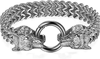 Unisexe Corbeau Double Tête Bracelet Ouvert Métal Réglable Bijoux Retro Punk 1pc