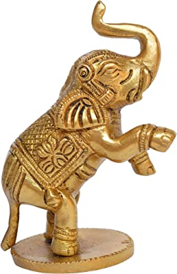 Aakrati Yellow Small 4 inch Brass Cute Elephant Showpiece- Use for Home or Office or Paper Weight