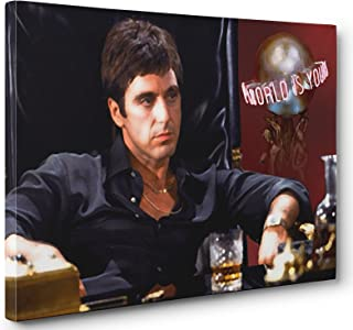 AL PACINO SCARFACE THE WORLD IS YOURS CANVAS PRINT POSTER PAINTING PHOTO WALL ART (16x24in.)