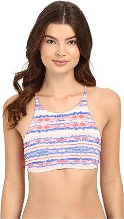 Sea Stripe Halter Crop Bikini Top